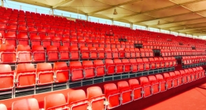 Grandstand seating with roof