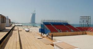 Scaffold grandstand beach event Dubai